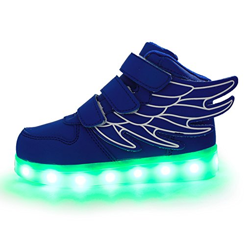 ANEMEL Wings Children's 7 Colors LED Shoes Flashing Rechargeable Sneakers Dance Shoes For Kids Boys Girls Toddler-Blue/US Toddler 8M/EUR - Wiki Man Ray