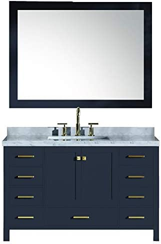ARIEL Cambridge A055S-CWR-MNB 55 Inch Single Rectangular Sink Solid Wood Midnight Blue Bathroom Vanity Set with 1.5 Inch Edge White Carrara Marble Countertop