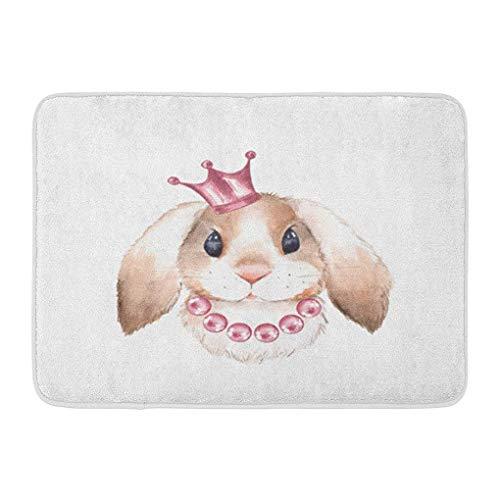 YGUII Doormats Bath Rugs Outdoor/Indoor Door Mat Pink Girl Rabbit and Crown Watercolor Animal Farm Beads Princess Bunny Bathroom Decor Rug Bath Mat 16X23.6in (40x60cm)