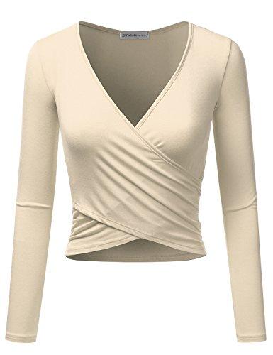 - JJ Perfection Women's Long Sleeve Deep V Neck Unique Cross Wrap Crop Top Taupe XL