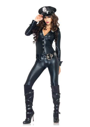 [Leg Avenue 4 Piece Officer Payne Lame Police Jumpsuit Costume, Black, Medium] (Sexy Jumpsuit Costumes)