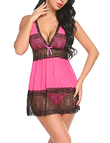 ADOME Women's Sexy Lingerie Lace Babydolls Mesh Chemises Mini Nightwear Rose Red