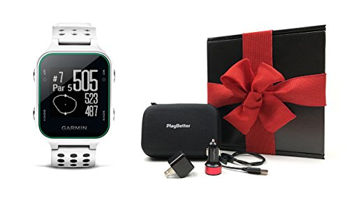 Garmin Approach S20 (White) Gift Box Bundle | Includes Golf GPS Watch/Activity Tracker, PlayBetter USB Car & Wall Charging Adapters, Protective Hard Carrying Case | Black Gift Box and Red Bow