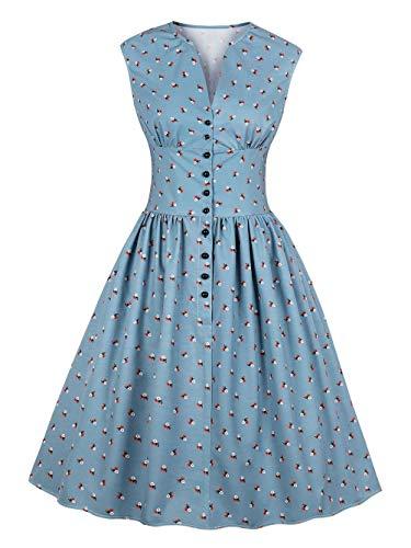Kaei&Shi Floral High Waist Vintage Dresses for Women,Rockability 50S Dress,Tea Party Button Up Dress Blue ()