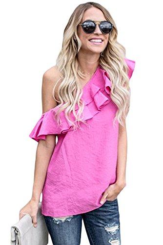 New rosy lato volant camicetta estate camicia top casual Wear taglia UK 14EU 42