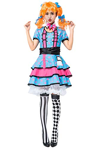 COSMOVIE Women's Halloween Clown Costumes Sexy Circus Performer Dress Polka Dot Dresses for -