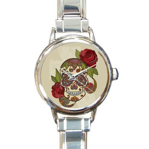 (Personalized Watch Beautiful Sugar Skull with Flower Round Italian Charm stainless steel Watch)