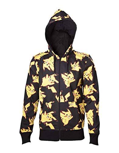 Pikachu Hoodie For Men (Pokemon Hoodie Pikachu All Over Print Logo Official Mens Black Zipped Size)