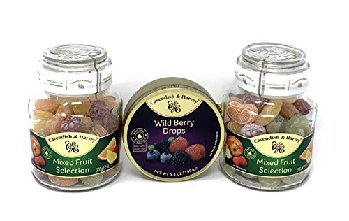 Cavendish and Harvey Mixed Fruit Selection Hard Candy in Glass Jar, 10.5oz (Pack of 2) + FREE Fruit Tin (5.3oz)