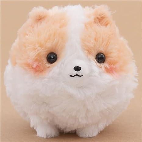 amazon com cute fluffy white peach dog pometan plush toy japan