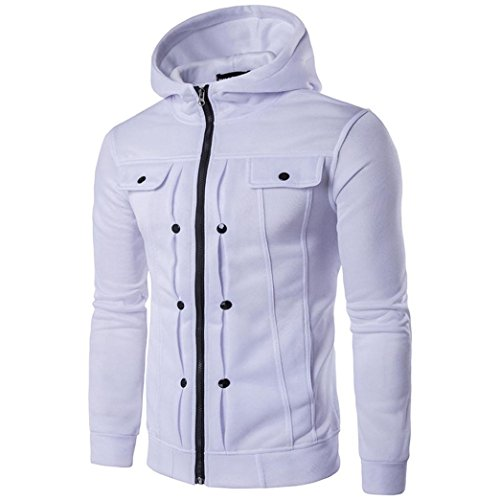 Men Jacket Victorcn Solid Simplicity Hooded Top Cardigan Coat Jacket Autumn Winter (M, White)