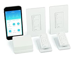 Lutron Caseta Wireless Smart Lighting Dimmer Switch (2 count) Starter Kit with pedestals for Pico remotes, P-BDG-PKG2W, Works with Amazon Alexa