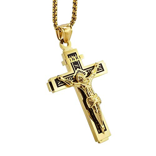 s Steel Gold Cross Crucifix Necklace Religious Retro Pendant Jewelry with 24in Chain ()