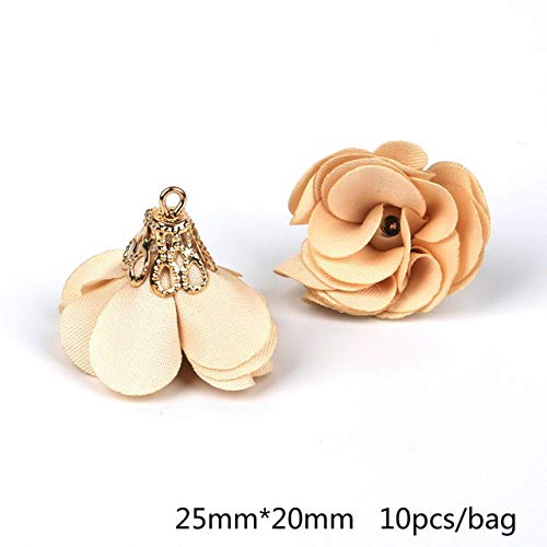 (Kamas Fabric Tassel Charm Small Beads Clasps Electroplated Flower Shape Tassel for DIY Jewelry Findings Making - (Color: Beige))