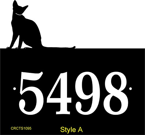Comfort House Address Sign - Custom Address Plaque With Cat Sitting On Top Displays Your House Number P2275 P2275 Style A sitting cat