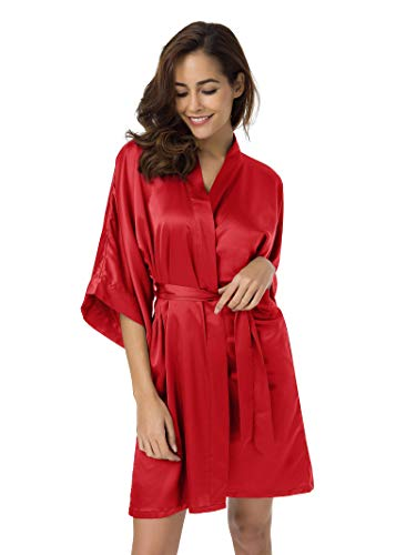 SIORO Women's Satin Robe,Silky Kimono Bathrobe for Bride Bridesmaids,Wedding Party Loungewear Short L, Red]()