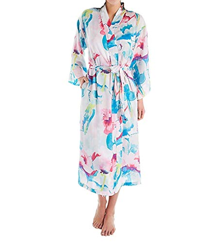 N by Natori Women's Pastel Blossom Robe Aqua Floral X-Large