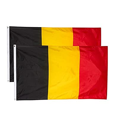 Juvale Belgium Flags - 2-Piece Outdoor 3x5 Feet Belgium Flags, Belgian National Flag Banners, Double Stitched Polyester Flags with Brass Grommets