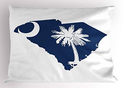 (Lunarable South Carolina Pillow Sham, The Palmetto State Flag and Map Sabal Palm Tree and Crescent, Decorative Standard Size Printed Pillowcase, 26 X 20 Inches, Cobalt Blue and White)