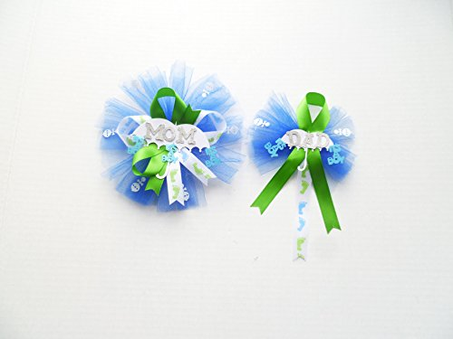 Baby Feet Themed It's a Boy Baby Shower Corsage for Mom and Dad (Royal Blue, Lime Green) (Baby Feet Pin)