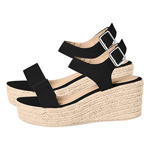 - Women's Open Toe Buckle Ankle Strap Sandals Wedges Summer Weave Breathable Shoes Black