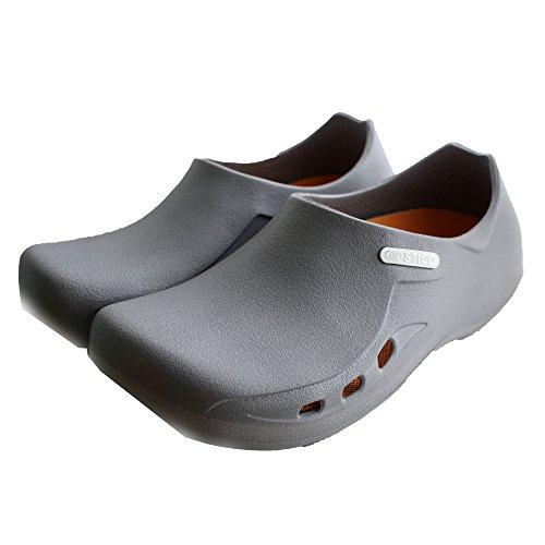 STICO Mens Chef Kitchen Slip Resistant Safety Shoes - Work Clog, Muel For Restaurant, Hospital, Nursing, Garden - Grey, US 10 (280mm) by STICO