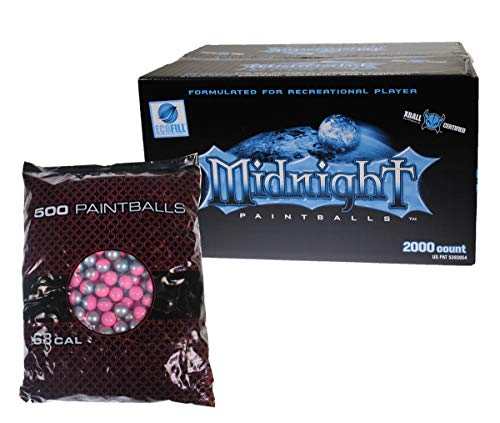 GI Sportz XBALL Certified Midnight Paintballs (2000 Count - Pink/Grey Shell w Aqua ()