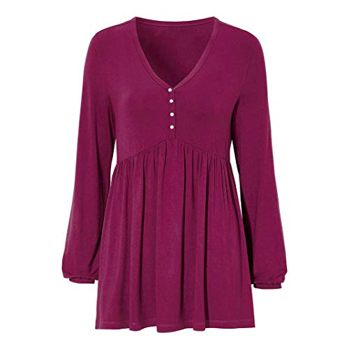 - Realdo Clearance Sale!Women Casual Solid Row Pleats V-Neck Long Latern Sleeve Ruffled Top T-Shirt Blouse(Large,Wine)