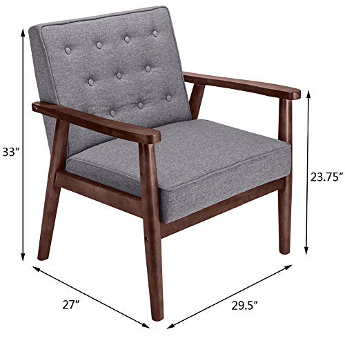 Mid-Century Retro Fabric Upholstered Wooden Accent Lounge Chair Wood Frame Leisure Chair Armchair Single Sofa Seat for Living Room Bedroom Reception Apartment Dorms