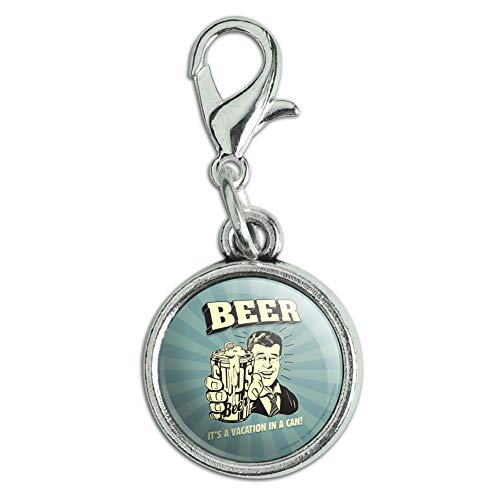 GRAPHICS MORE Beer It's A Vacation In A Can Funny Humor Antiqued Bracelet Pendant Zipper Pull Charm With Lobster Clasp