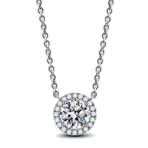 AllenCOCO 14K Gold Plated 1 Carat Brilliant Cut Simulated Diamond CZ Round Halo Pendant Necklace (Rhinestone Pendant)
