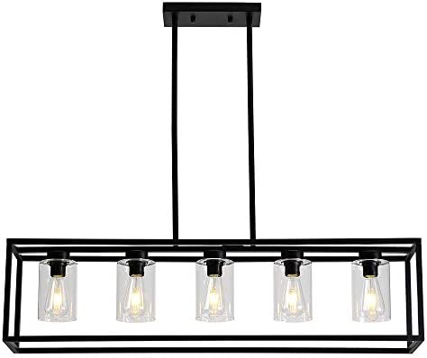 Sivilynus 5Lights Black Dining Room Chandelier Hanging Light Fixture Modern Kitchen Island Linear Lighting Farmhouse Chandelier with Clear Glass Shade for Bar Restaurant