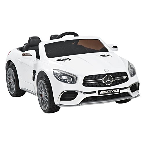 Uenjoy 12V Ride On Car Licensed Mercedes-Benz AMG SL65 Electric Cars for Kids, Remote Control RC, Kiddie Ride Fun, LED Lights, Spring Suspension, Safety Lock, White