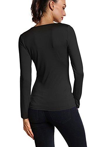 Manga larga mujer corte blusa Casual Black