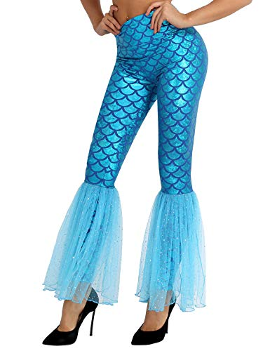 Fantasy Mermaid Costume (FEESHOW Fantasy Mermaid High Waisted Sequins Mesh Wide Leg Yoga Bell Bottom Pants Leggings Blue)