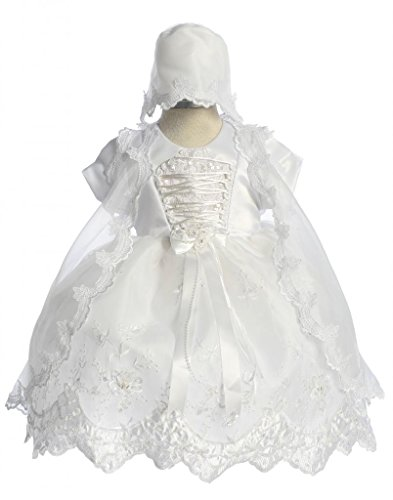 Bodice Satin Corset - AkiDress Girls Baptism Christening Gown Satin & Organza Gown with Corset Body White S