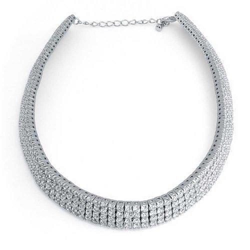 Bling Jewelry 4 rangée zircone cubique Suite Nuptiale Collier