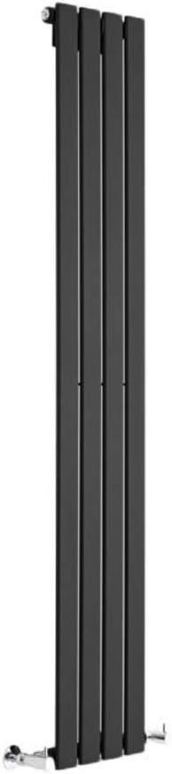 Hudson Reed Radiador de Diseño Moderno Vertical Delta - Radiador con Acabado Negro - Paneles Planos - 1600 x 280mm - 586W - Calefacción