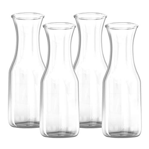 34 oz Glass Carafe - 4 Pack - Drink Pitcher and Elegant Wine Decanter, Comfortable Grip with Narrow Neck Design, Wide Opening for Easy Pouring - Great for Parties and Events - Kitchen Lux