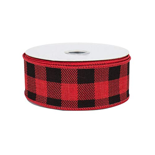 "Buffalo Check Plaid Wired Ribbon - 1 1/2"" x 10 Yards, Red & Black, Christmas Wreath, Farmhouse Decor, Valentine"