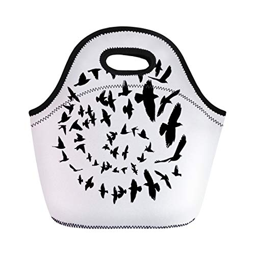 Flock Circles - Semtomn Neoprene Lunch Tote Bag Flock Bird Silhouette in Circle Flying Freedom Spiral Animals Reusable Cooler Bags Insulated Thermal Picnic Handbag for Travel,School,Outdoors,Work