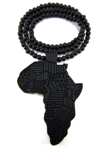 Large Wooden Africa Map Black Good Quality Wood Pendant & Chain by Hip Hop Jewels