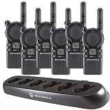 6 Motorola CLS1413 - UHF 1 Watt 4 Channel Radios & 1 Motorola 56531 6 Radio Charger(Black)