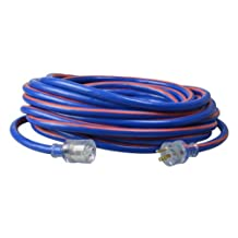 Coleman Cable 02648-00-64 10/3-Wire Gauge 50-Feet Neon Stripe Outdoor Extension Cord with Lighted Ends (Blue/Red)