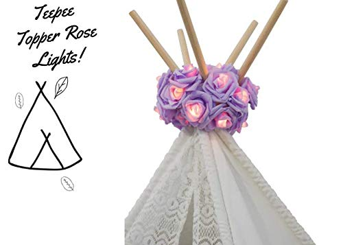 (Dream Tada Girl Teepee Tent Decor- Kids Pets Teepee Lights | Christmas Lights Battery Powered | Hanging Indoor Lights Boho Style| Fairy String LED for Birthday Parties Baby Showers (Lavender))