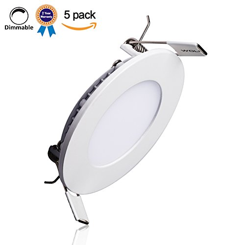 Round Panel (B-right Pack of 5 Units 12W 6-inch Dimmable Ultra-thin Round LED Panel Light, 850lm, 80W Incandescent Equivalent, 4000K Neutral White, LED Recessed Ceiling Lights for Home, Office, Commercial)