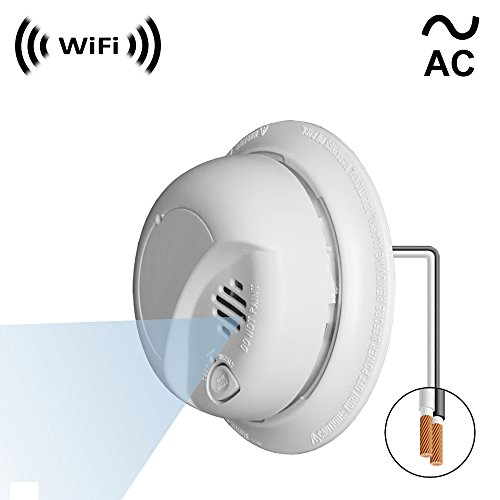 WF-404VAC: Spy Camera with WiFi Digital IP Signal, Recording & Remote Internet Access, Camera Hidden in a Residential Smoke Detector (Direct 110V ~ 220VAC Line Model)