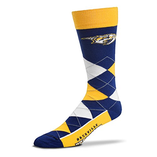 For Bare Feet NHL Argyle Lineup Unisex Crew Dress Socks-One Size Fits Most-Nashville Predators