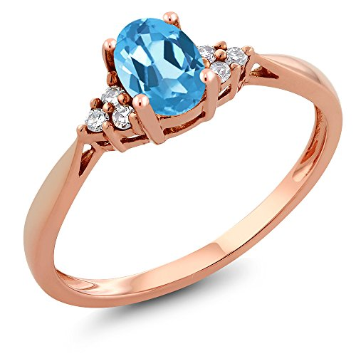 14K Rose Gold Swiss Blue Topaz and Diamond Women's Ring 0.56 cttw, Available in size (5, 6, 7, 8, 9)