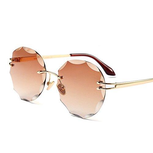 Sol Oro Alta Claro La De Calidad Gafas De Claro Redondo Sol Gafas Metal Sin Del Reborde De Con De Mujer Mujer coffee TIANLIANG04 Uv400 ZxTdFqRq